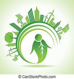 eco, cityscape, concetto, ecologia