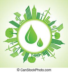 eco, cityscape, gotas, água, ao redor