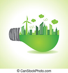 Eco cityscape on light bulb stock vector