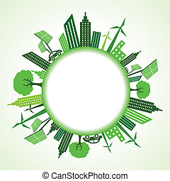eco, cityscape, ongeveer, cirkel