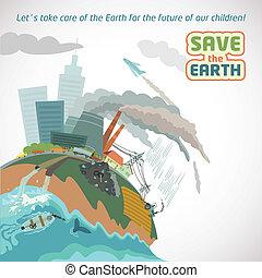 eco, ciudad grande, cartel, contaminación