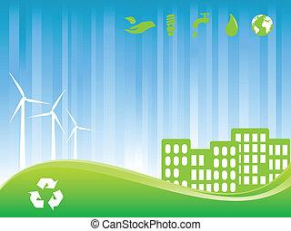 eco, ciudad, verde