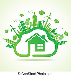 eco, cloudscape, 概念, エコロジー