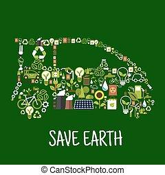 eco, coche, silueta, con, verde, energía, plano, iconos