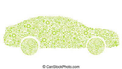 eco, coche, vector, concepto