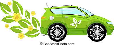 eco, coche, vector, ilustración