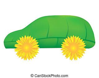 eco, coche verde, icono