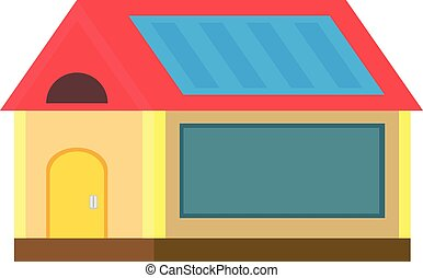 eco color in a flat style house with solar panels on the roof on a white background