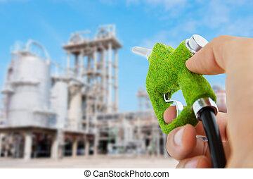 eco, combustível, bocal, segurando mão