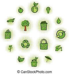 Eco comics green icons set