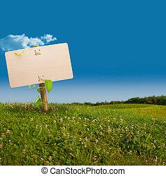 eco, communication, -, signe, vert, amical