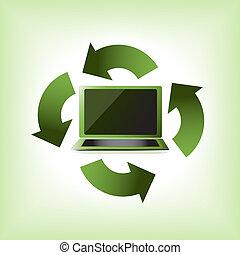 eco, computadora, verde