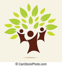 eco, conceito, verde, família