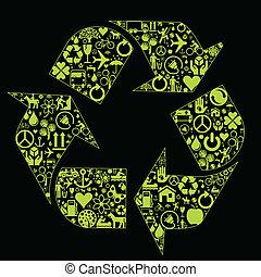 eco, concept, écologie, fait, icônes