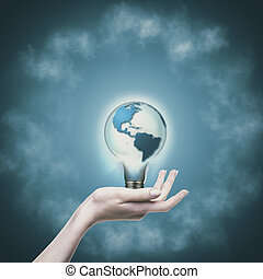 eco, concept., 可更新的能量, 同时,, 可持续发展, 设计