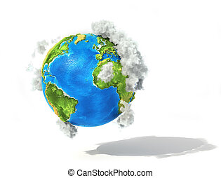 Eco concept. 3d planet with clouds isolation on a white ...