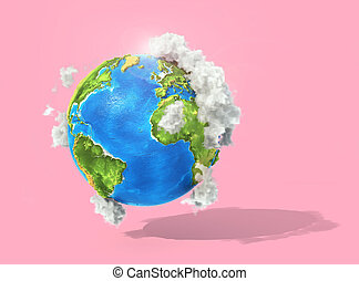 Eco concept. 3d planet with clouds on a pastel background. ...