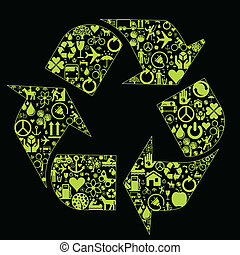 eco, concept, ecologie, gemaakt, iconen