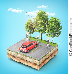 Eco concept. Electric car charging station with car for zero emissions on the piece of ground with grass. 3d illustration