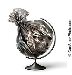 Eco concept. Globe with a garbage bag instead of a planet on a white background. The concept of global pollution.