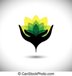 eco concept graphic of girls hand with fresh vibrant leaves - ve