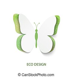 Eco concept green butterfly cut out of paper, abstract vector background