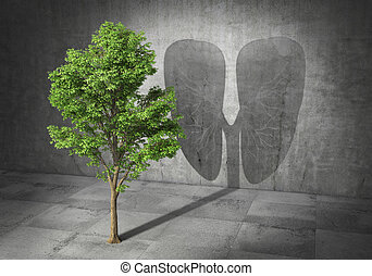 Eco concept. Green tree cast shadow in form of lungs. 3d...