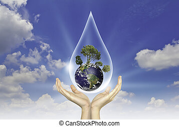 Eco concept : Hand with tree and earth in water drop