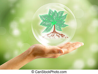 Eco concept : Hand with tree in bubbles - Eco concept : Hand...