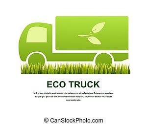eco, concept., isolé, illustration, arrière-plan., vecteur, camion, blanc