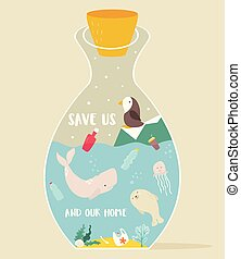 Eco concept poster bottle and animals inside.