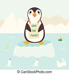 Eco concept poster with cute penguin
