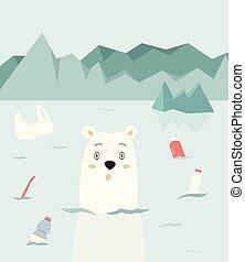 Eco concept poster with cute polar bear.