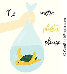 Eco concept poster with marine turtle.