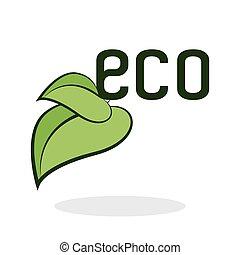 eco, concept., protezione, terra verde, design., icona