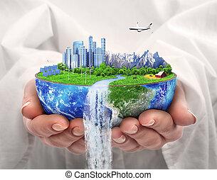 eco, concept., stad, van, future., zonnekracht, stad, wind, energy., sparen, de, planet., aarde, day.