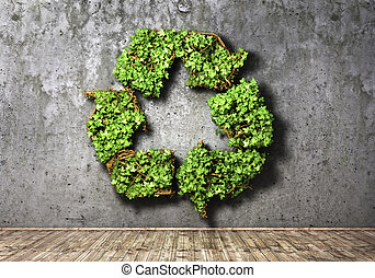 Eco concept. The green plant in form of recycling symbol on a concrete wall background. 3d illustration