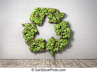 Eco concept. The green plant in form of recycling symbol on a brick wall background. 3d illustration