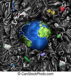 Eco concept. The planet is drowning in the garbage....