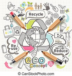Eco concept thinking doodles icons set.