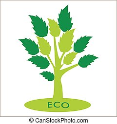 Eco concept. Vector abstract trees with green leaves