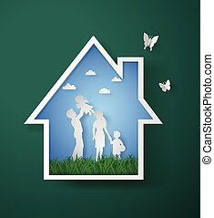 eco concept - concept of happy family with home,paper art...