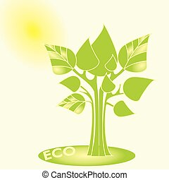 Eco concept. Vector trees with green leaves, Sun in the background