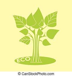 eco, concept., vektor, abstraktní, kopyto, s, mladický list