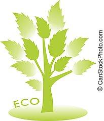 eco, concept., vektor, kopyto, s, mladický list