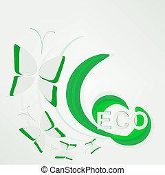 eco, -, concept, vert, papillon