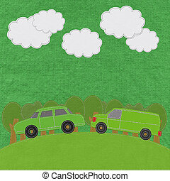 ECO concept with stitch style on fabric background
