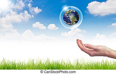 eco, concetto, :, mano, presa, globo, in, bolle, contro, il, sole, e, il, cielo blu
