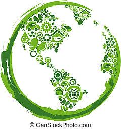 eco, concetto, pianeta, -, 2
