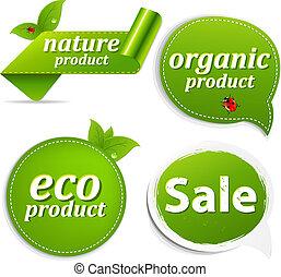 eco, conjunto, etiquetas, verde